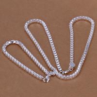 Brandneue 4mm Box Aberdeen Kette Sterling Silber Überzogene Schmucksets für Männer DMSS026, Hochzeit 925 Silber Platte Halskette Armband Schmuck Set