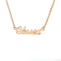 Gold Silver Plated Tiny Stamped Lucky Letters Necklace Simpl...