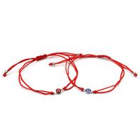 Vente en gros-Meilleure Vente Mince Fil Rouge Evil Eye Charms Bracelet Corde Tressée Bracelets Bracelets Pour Femmes Hommes Longueur Réglable