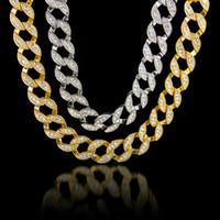 빛나는 크리스탈 라인 석 목걸이 과장 24K 진짜 금 도금 마이애미 쿠바 LINK는 힙합 블링 소식통 남성 체인 75cm를 설정합니다