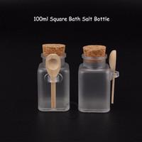 35pcs / Lot venden al por mayor el envase cosmético de las mujeres 100ml 10 / 3OZ botella de sal cuadrada del baño 100 gramos de crema facial del tarro poner crema recargable