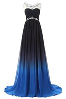 2017 New Chiffon Gradient Color Beading Long Evening Formal ...