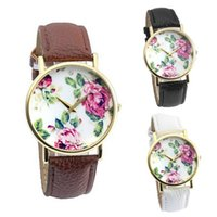 Geneva Watch Kobiety Moda Round Rose Flower Faux Leather Quartz Dress Sukienka Wrist Watch Relogio White
