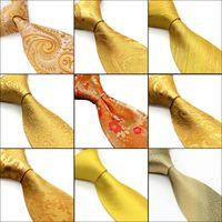 Toptan Altın Sarı Turuncu Erkek Kravatlar Kravat Paisley Çiçek Katı Çizgili% 100 İpek Jakar Dokuma Kravat Cep Kare Ücretsiz Kargo ayarlar