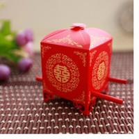 Envío gratis rojo nupcial silla de la boda cajas de favor caja de regalo caja de embalaje caja de caramelo chino de la boda WA1957