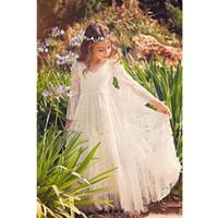 2020 princesa vestidos de primera comunión Nuevo cordón blanco para niñas Sheer manga larga de Boho vestido de flores niña de la playa vestido del desfile