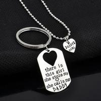 Herz Anhänger Halsketten Vatertag Daddy Tochter Schlüsselbund Halsketten Silber Überzogene Legierung Halskette Mode Anhänger 2 teile / satz