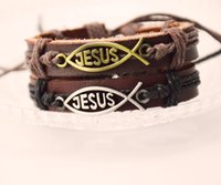 Free Shipping Coffee Leather Bracelet Cool Church Gifts JESU...