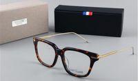 العلامة التجارية Glasses-TB701 موضة نظارات نظارات خمر إطار العلامة التجارية مصمم الساقين المعدنية عالية الجودة للجنسين عادي النظارات النظارات مع القضية
