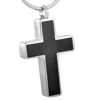 IJD8355 черный эмалированный простой крест кремации золы ювелирные изделия из нержавеющей стали кулон урна зола ожерелье с воронкой