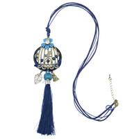 idealway vino azul bohemio cuero cadena Theads borla encantos Crystal Rhinestone flor hoja Birdcage colgante collar