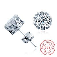 Vecalon أنثى ولي أقراط 2ct الماس تشيكوسلوفاكيا 925 فضة حفل زفاف وأقراط للنساء الأزياء والمجوهرات