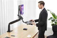 Support de moniteur de bureau ergonomique de 22 à 35 pouces avec plateau de clavier Support de moniteur à bras long Full Motion Sit Stand de travail pour ordinateur portable de bureau