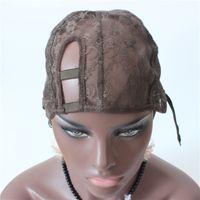 Малые / средние / большие коричневые правые крышки парика части U для делать парики Glueless крышки парика шнурка регулируемый ремень на задней части