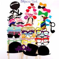 58 Pz Puntelli Foto Occhiali Moustache Lip Hold Stick Festa di Nozze Maschere FAI DA TE Fun Favor Regalo Stick decorazione del partito