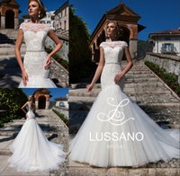 Lace Bateau Mermaid Wedding Dresses Short Cap Sleeve Beaded ...