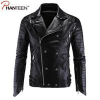 Оптовая продажа-Phanteen высокое качество панк человек куртки череп заклепки искусственной кожи PU осень мотоцикл куртки мода Мужская одежда плюс размер 5XL