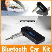Evrensel 3.5mm Bluetooth Araç Kiti A2DP Kablosuz Aux Ses Müzik Alıcı Adaptörü Handsfree Mic ile Telefon MP3 Perakende Kutusu Için