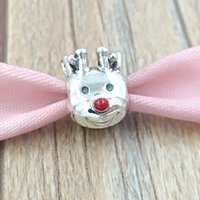 Beads de prata esterlina autêntica 925 Beads Red-Need Rena Charm Charms Se encaixa Europeu Pandora Estilo Jóias Braceletes Colar 791781en39