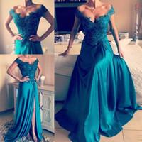 2017 Sexy New turchese Prom Dresses Sweetheart Cap maniche in pizzo Appliques in rilievo lato spaccato abito da sera lungo partito pageant abiti formali