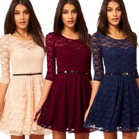 2016 womens sexy vestidos party night club dress vestido 3 colores 1 unid womens sexy lace hueco summer dress con cinturón p0
