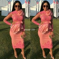 African Lace Appliques Cocktail Dresses With Handmade Flower...