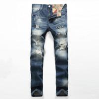 Mode Zerrissene Jeans Gerade Männer In Europa Stehen Dünne Nostalgische Gezeiten Herrenhosen Hohe Qualität Jeans
