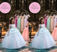 Light Sky Blue Organza Ball Gown Flower Girls Pageant Dresse...