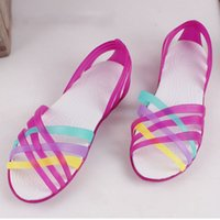 Women Sandals 2017 Summer New Candy Color Peep Toe Beach Valentine Rainbow Croc  Jelly Shoes Woman Wedges Sandals 1216141a19a7
