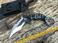 Los nuevos 49ks uno de acero A +++ G10 asa fría garra karambit completa cuchillo de espiga lámina D2 diseñar cuchillos acampar al aire libre herramienta de corte