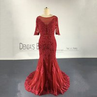 2017 Wine Red Mermaid Evening Dresses vestidos festa with Bateau Neckline Illusion 1 2 Sleeves V Back Lace Appliques Real Images Prom Gowns