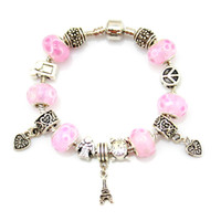 Pink Color Jewelry Handmade European Beads Braceletes Bangles Murano Glass European Beads Charm Bracelets Women Gift