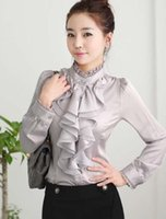 New Women' s OL Shirt Ruffles Collar Long Sleeve Tops Bl...