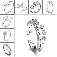 925 Silver Rings Crown Dolphins Dragonfly Horse Wing Fox Hea...