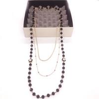 Handgemachte kpop Art und Weise schwarze Emaille Kamelinkorn mehrschichtige lange Halskette Frauen Pullover Zubehör / Collier Femme / Collier Sautoir lang