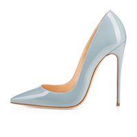 Zandina Senhoras Artesanais Moda ASO-kate 120mm Dedo Apontado Toe Clássico Partido Bombas de Salto Fino Sapatos Stiletto Luz-azul