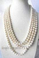 100' ' 10mm Round White Freshwater Pearl Necklace