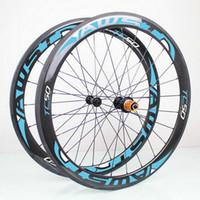 AWST الأزرق 50MM لامعة 3K 700C الفاصلة عجلات دراجة الكربون الكربون الكامل رخيصة دراجة عجلات الكربون مجموعة 23 ملليمتر عرض سطح البازلت عجلات