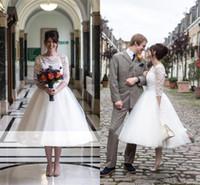 Плюс размер короткие-Line свадебные платья 2018 с плеча с длинным рукавом французский кружева лето стиль страны свадебные платья пользовательские BA6704