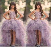 Lavender High Low Girls Pageant Gowns Lace Applique Sleevele...