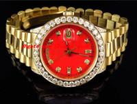 Высочайшее качество роскошные наручные часы мужские 41 мм 18038 18к желтый золотой красный набор Большие алмазные автоматические механические мужчины часы новое прибытие