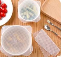 50 Takım 4 adet / takım Çok Fonksiyonlu Gıda Taze Tutmak Saran Wrap Mutfak Araçları Kullanımlık Silikon Gıda Sarar Mühür Vakum Kapak