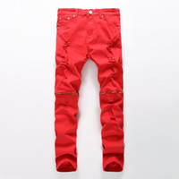 All'ingrosso-Nuovi uomini strappati jeans rosso nero bianco cerniera jeans hip hop mens punk rock distressed biker jeans pantaloni denim elastico plus size