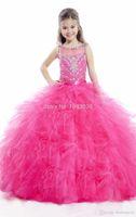 레이첼 앨런 볼 가운 소녀 옷 입히기 라인 석 스팽글 꽃 소녀 드레스 바닥 길이 싸게 Chrisom 키즈 공식 파티 드레스
