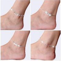 الأزياء 925 فضة الخلخال للنساء السيدات بنات فريد لطيف مثير بسيط الخرز الفضة سلسلة خلخال الكاحل القدم المجوهرات هدية
