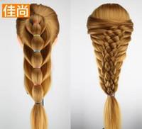 Baş Modeli Sahte Saç Modeli Manken Kafaları Çok renkli Örgülü Saç Updo Makyaj Modeli Süsler Gösterisi Kabarık