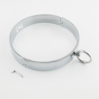 Shinning Metal M collier de symbole pour la retenue de Bandage dans le jeu BDSM (Style: Rond, Plat Couleur: Argent)