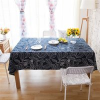 Wedding Outdoor Cotton and Linen Leaf Pattern Tablecloth Squ...