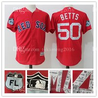 Boston Red Sox 50 Mookie Betts Maillots de baseball 100% cousu Majestic Scarlet 2017 Spring Training Cool Base Player Jersey