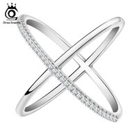ORSA New Cross Shape Engagement Zircon Ring White Gold Plated Wedding Jewelry Rings for Women OR66